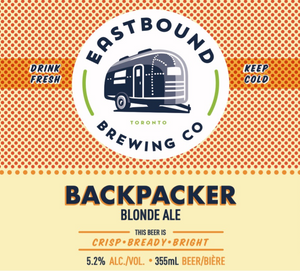 Backpacker Blonde Ale beer - eastbound brewing company toronto