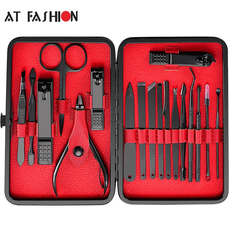 At Fashion 18pcs Stainless Steel Pedicure Professional Nail Clipper Set Cuticle Eagle Hook Tweezer Manicure Beauty Tools Kit