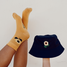 Load image into Gallery viewer, Navy Sunflower Bucket Hat