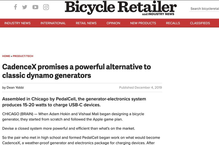 PedalCell featured in Bicycle Retailer