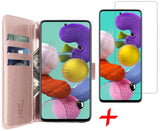 Galaxy A51 Book Case + Glaasje - Rose | iCall