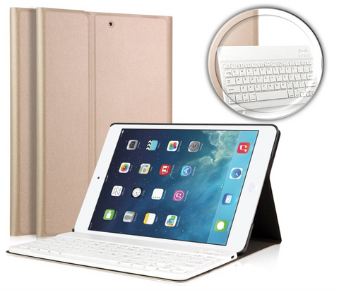 iPad Air 2 hoesje - Bluetooth Keyboard Hoesje Cover Goud