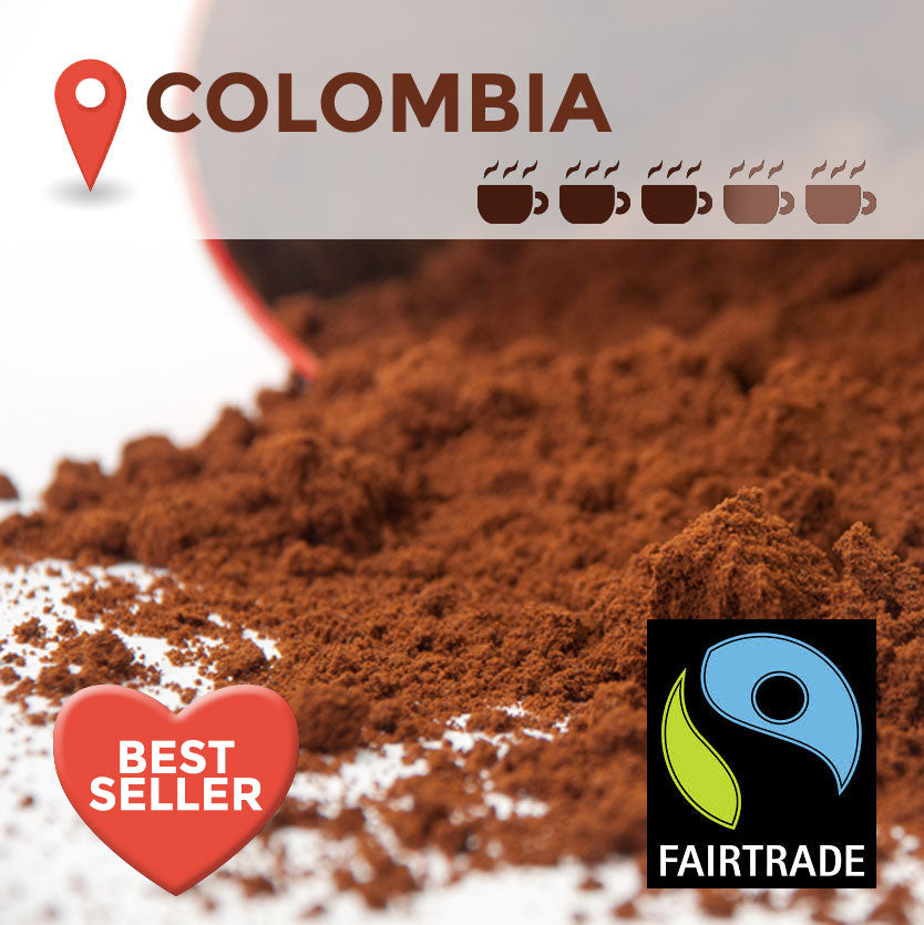 Fairtrade Colombian Cafetiere Coffee - 100 packs x 15g (medium)