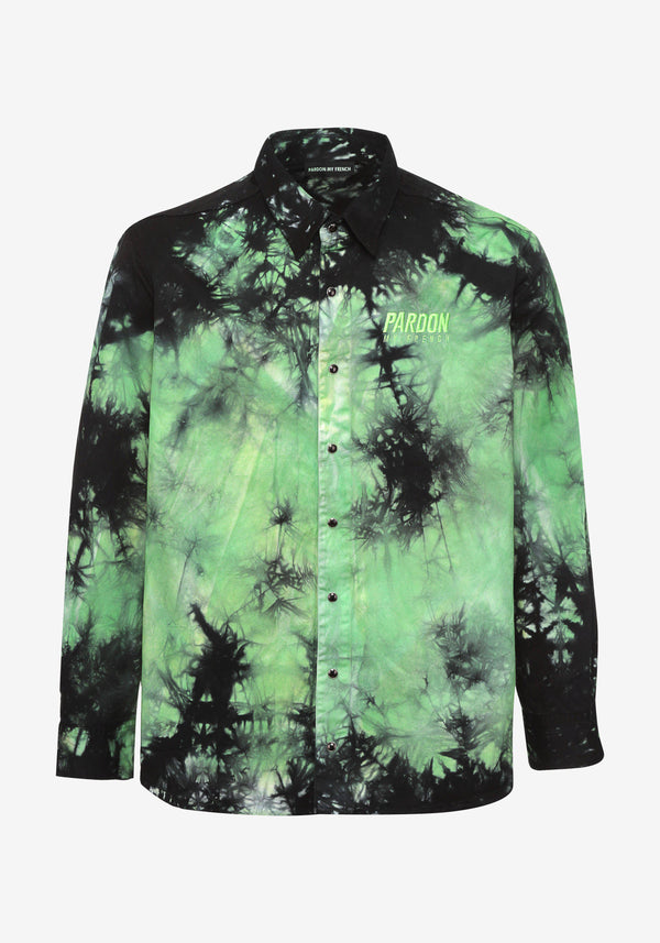 Shirt Jacket Pardon My French Batik Tie Dye Green & Black-PARDON MY FRENCH