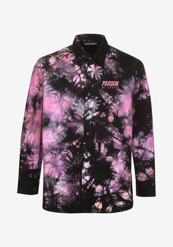 Shirt Jacket Pardon My French Batik Tie Dye Pink & Black-PARDON MY FRENCH