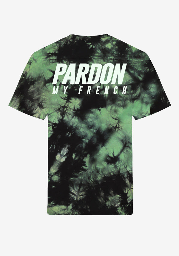 T-Shirt Pardon My French Batik Tie Dye Grün & Schwarz-PARDON MY FRENCH