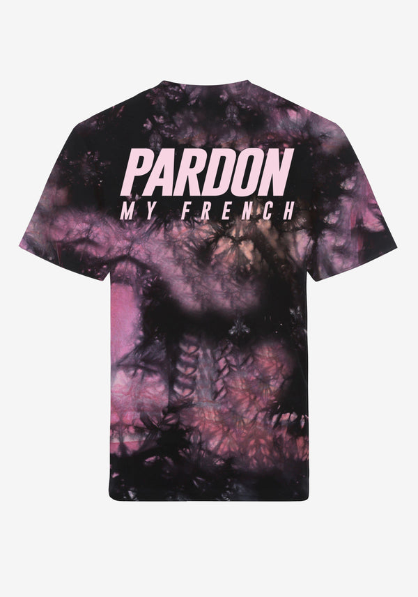 T-Shirt Pardon My French Batik Tie Dye Pink & Schwarz-PARDON MY FRENCH