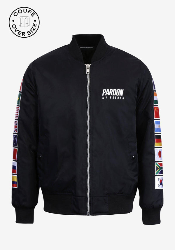 Zipped bomber jacket Pardon My French World Flags Edition-PARDON MY FRENCH