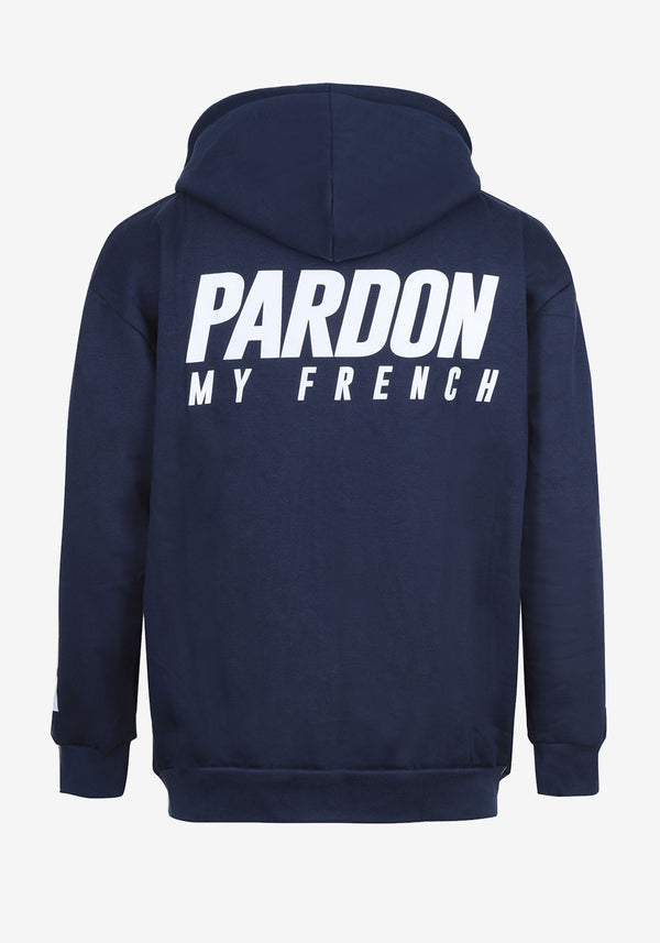 هودي أزرق بسحاب PARDON MY FRENCH طبعة أعلام العالم