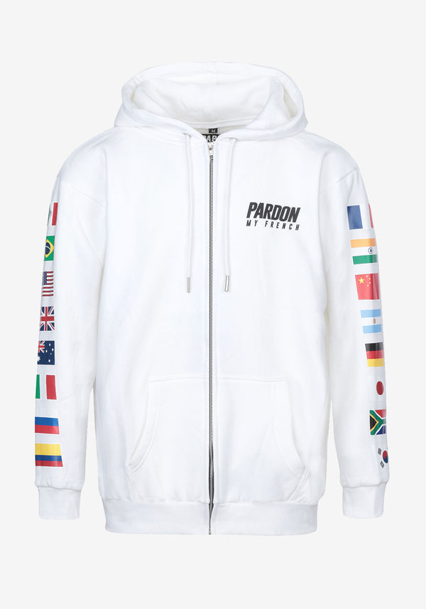 HOODIE ZIPPE BLANC PARDON MY FRENCH WORLD FLAGS EDITION