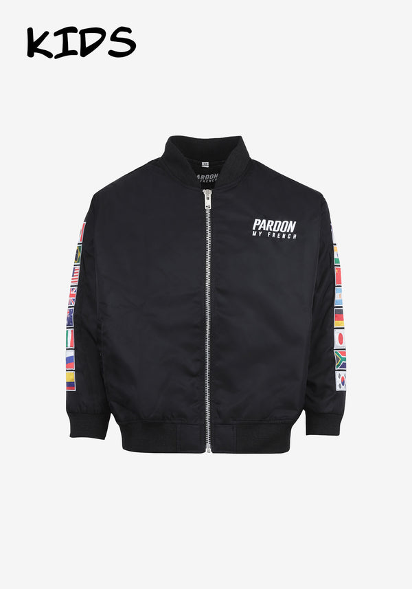 BOMBER ZIPPE ENFANT PARDON MY FRENCH WORLD FLAGS EDITION