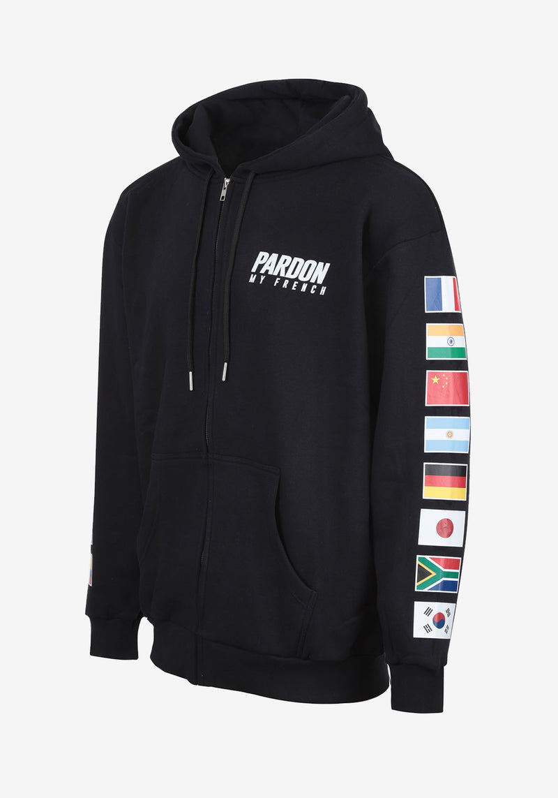 HOODIE ZIPPE NOIR PARDON MY FRENCH WORLD FLAGS EDITION