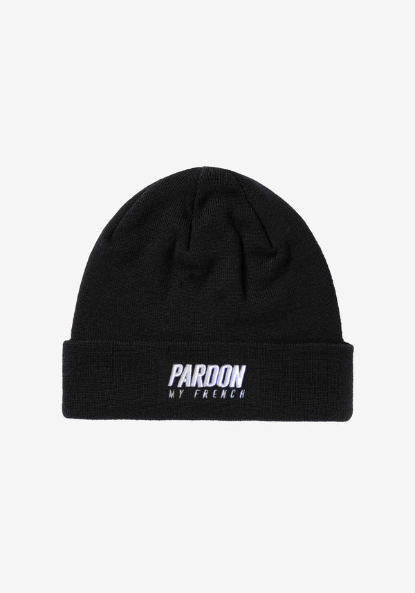 Bonnet noir Pardon Logo blanc-PARDON MY FRENCH