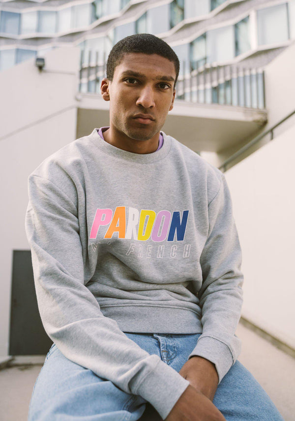 Crew Neck Pardon My French Gris – Multicolor Logo-PARDON MY FRENCH
