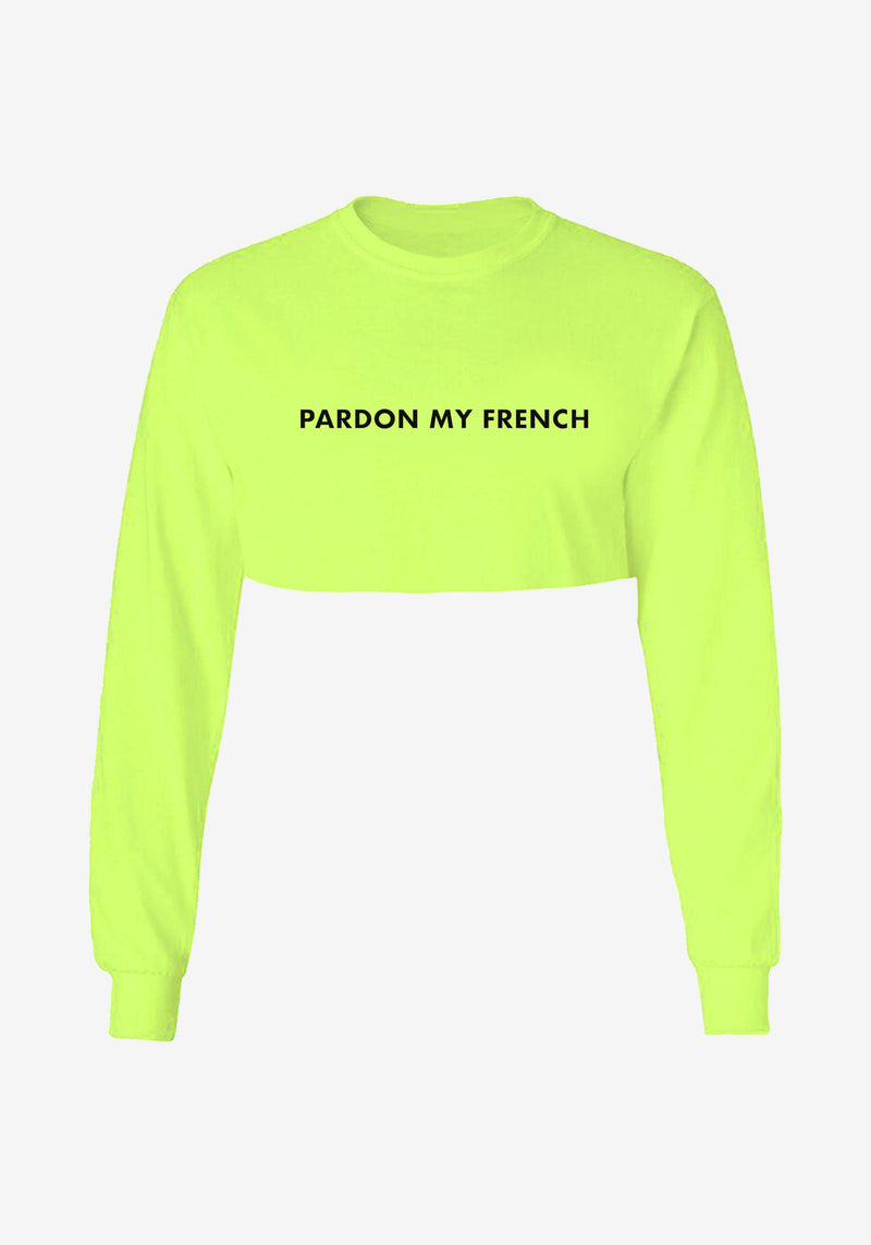 Crop top manches longues Pardon My French jaune fluo