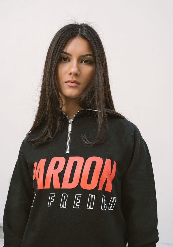SUDADERA CON CAPUCHA NEGRO PARDON MY FRENCH LOGOTIPO DE CARAPARDON MY FRENCH