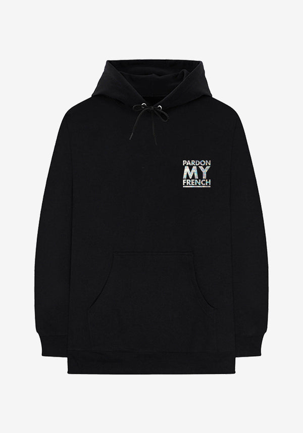 Hoodie Noir Classic Logo Pardon My French Iridescent
