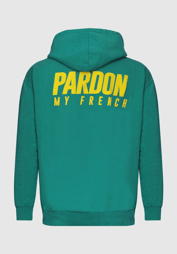 HOODIE PARDON MY FRENCH VERT NEW LOGO