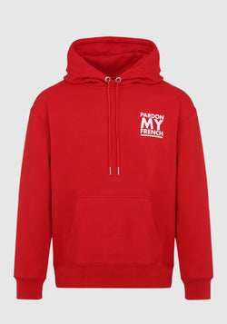 HOODIE PARDON MY FRENCH CLASSIC LOGO RED