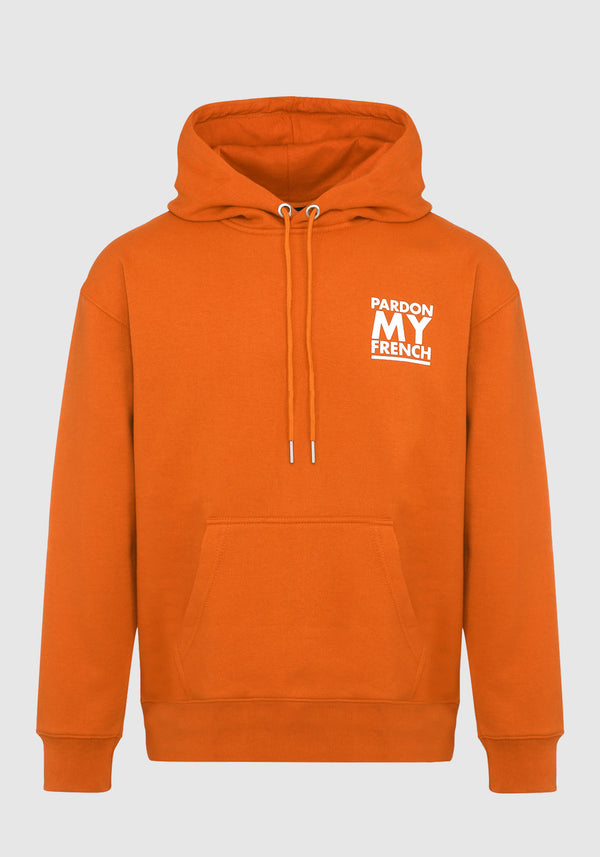 HOODIE PARDON MY FRENCH CLASSIC LOGO ORANGE
