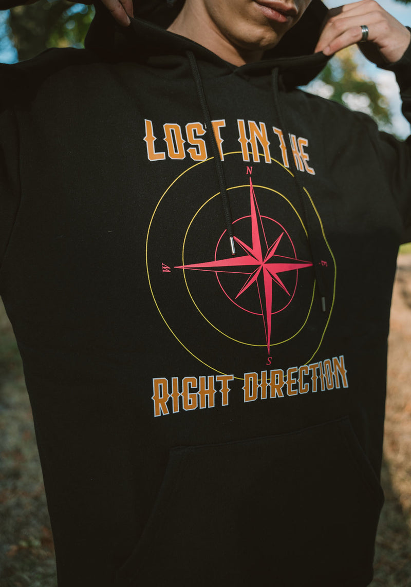 HOODIE PARDON MY FRENCH NOIR LOST IN RIGHT DIRECTION