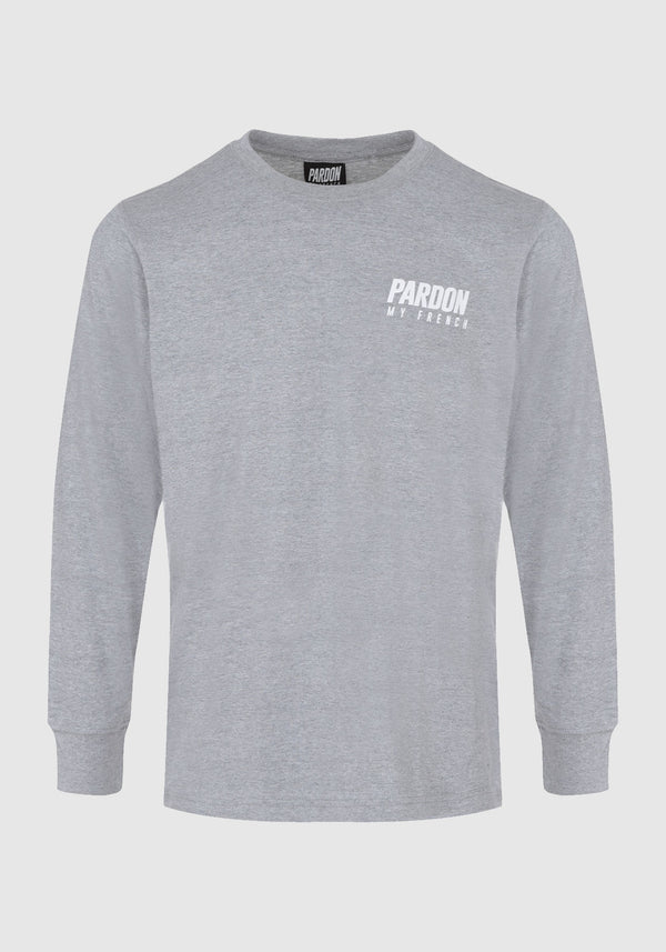TSHIRT MANCHES LONGUES PARDON MY FRENCH GRIS NEW LOGO