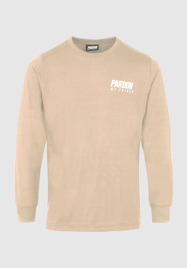 TSHIRT MANCHES LONGUES PARDON MY FRENCH BEIGE NEW LOGO