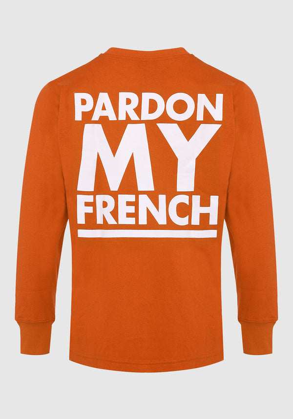 TSHIRT MANCHES LONGUES PARDON MY FRENCH CLASSIC LOGO ORANGE