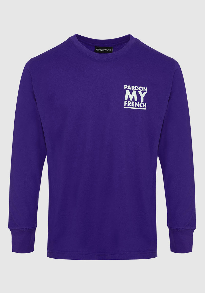 TSHIRT MANCHES LONGUES PARDON MY FRENCH CLASSIC LOGO VIOLET