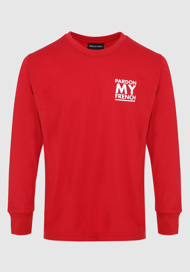 TSHIRT MANCHES LONGUES PARDON MY FRENCH CLASSIC LOGO ROUGE