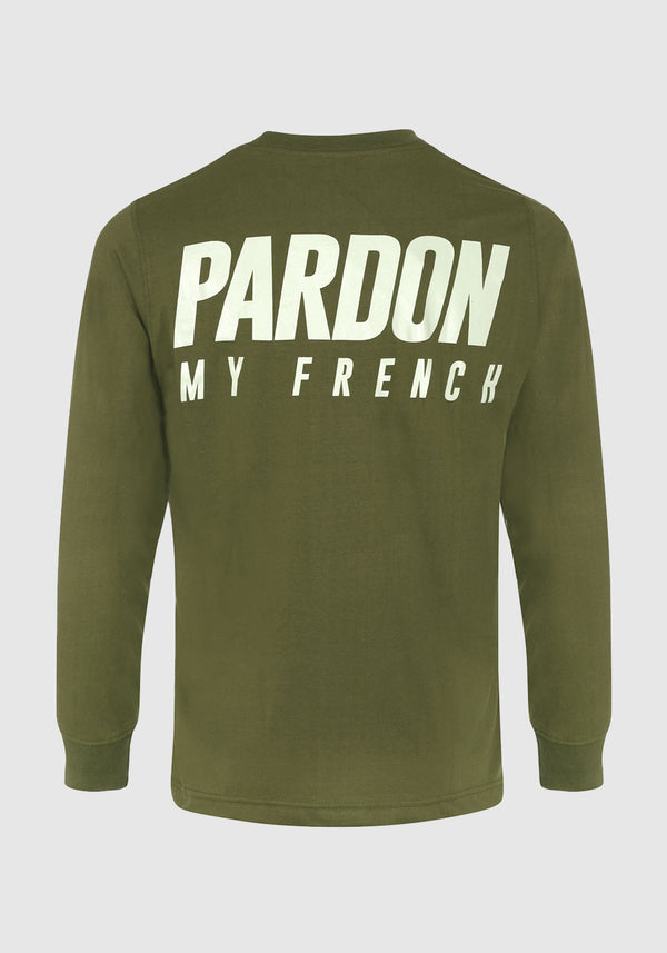 TSHIRT MANCHES LONGUES PARDON MY FRENCH KAKI NEW LOGO