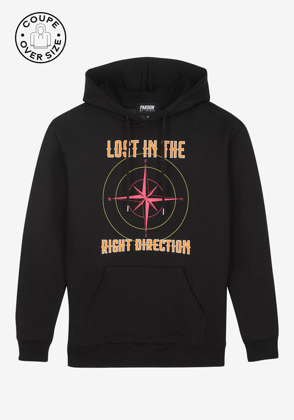 HOODIE PARDON MY FRENCH BLACK LOST IN RIGHT DIRECTION