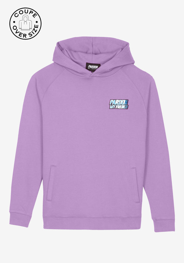 HOODIE PARDON MY FRENCH VIOLET METALLIC LOGO