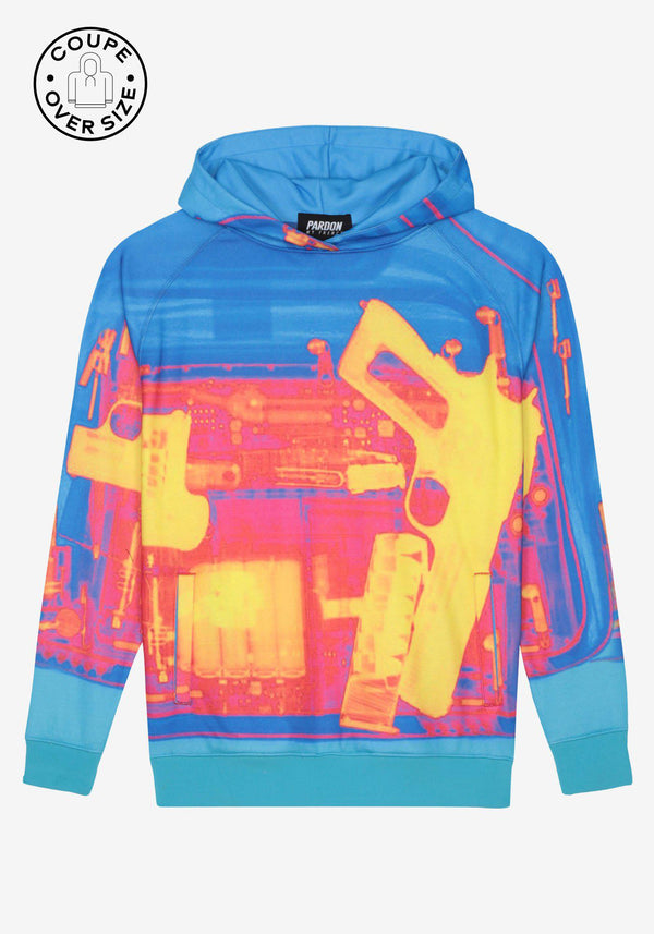 Übergroßer Hoodie Pardon My French X RAY Gun Blue-PARDON MY FRENCH