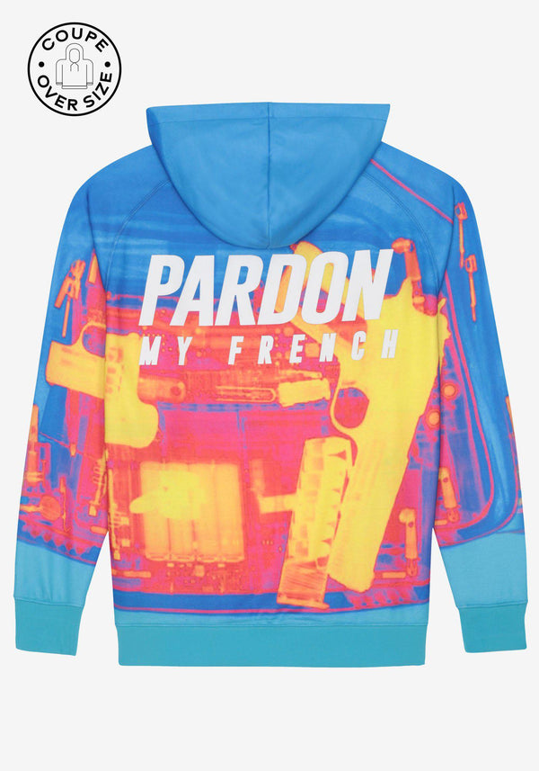 فوق حجم هوديي Pardon My French X RAY Gun Blue-PARDON MY FRENCH