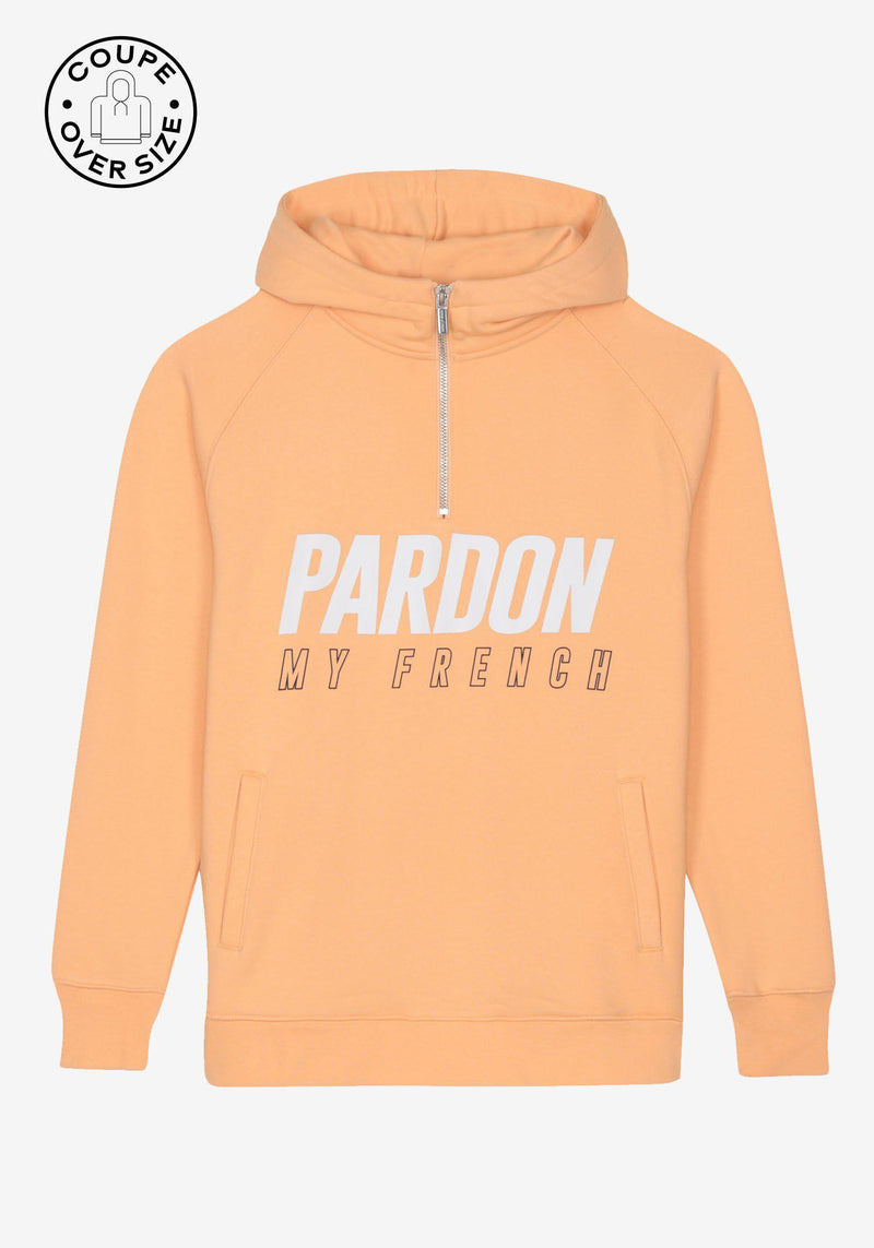 HOODIE ZIPPE ORANGE PARDON MY FRENCH FACE LOGO