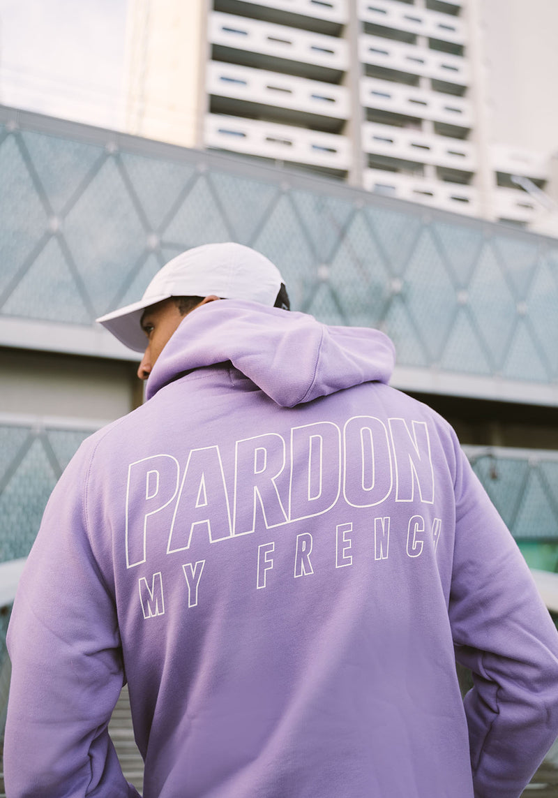 KAPUZENPULLOVER PARDON MY FRENCH VIOLETT METALLISCHES LOGO
