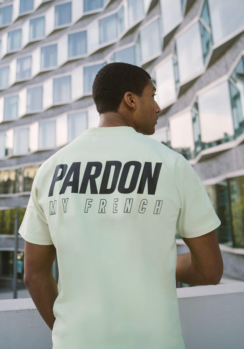 TSHIRT PARDON MY FRENCH NEW LOGO VERT PASTEL