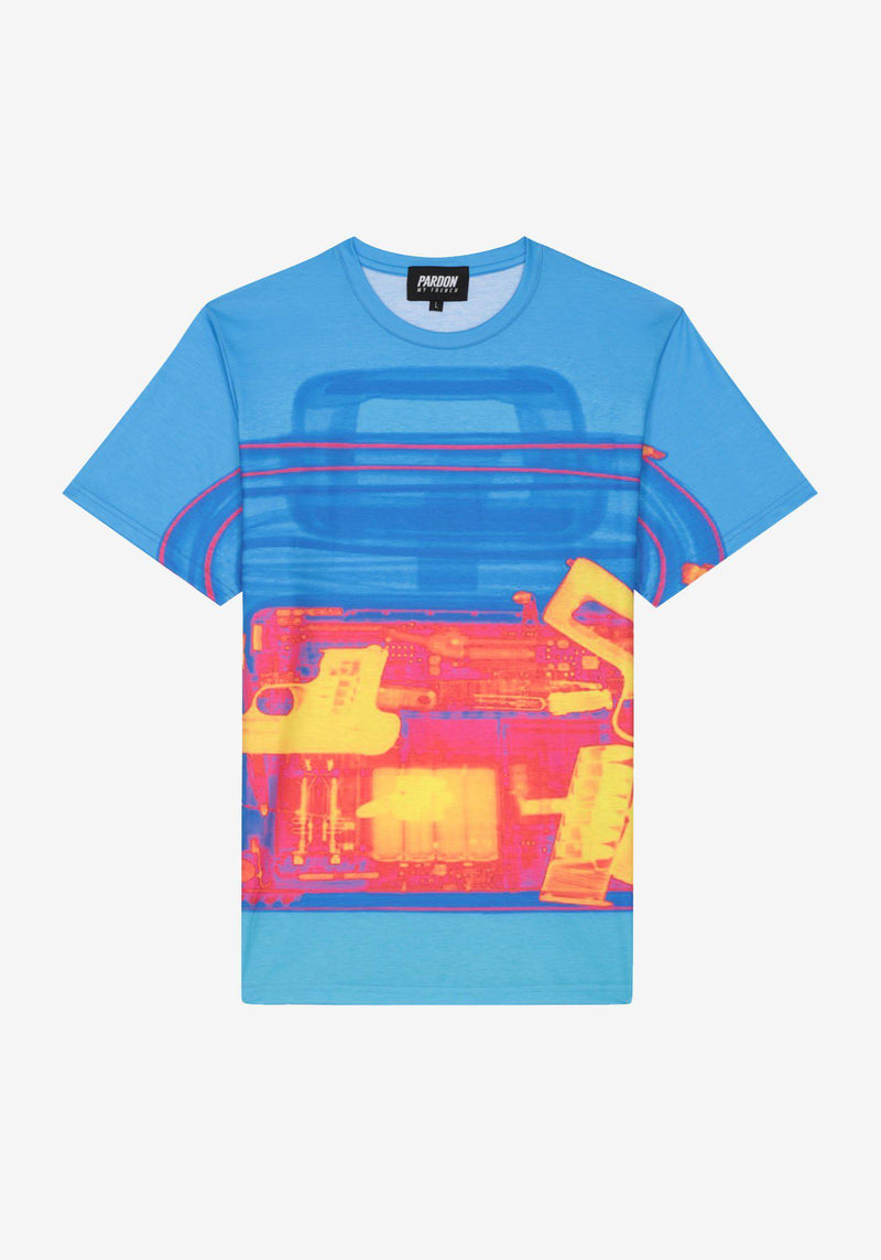 Tshirt Pardon My French X RAY Gun Bleu