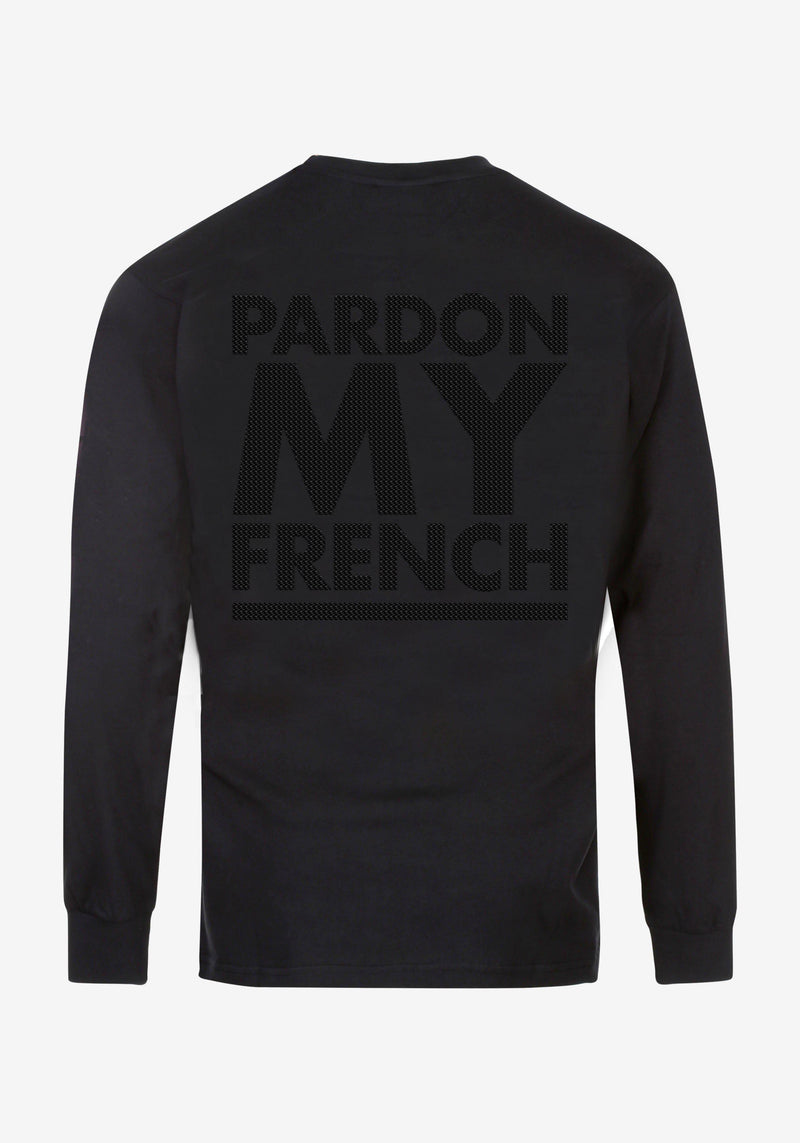 Schwarzes Langarm-T-Shirt EDITION COLLECTOR PARIS 22.02-PARDON MY FRENCH