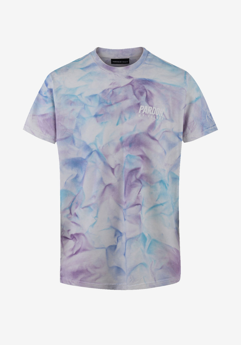 TSHIRT PARDON MY FRENCH TIE DYE BLEU CIEL NEW LOGO