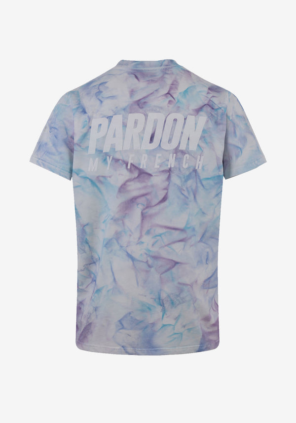 TSHIRT PARDON MY FRENCH TIE DYE SKY BLUE LOGO الجديد