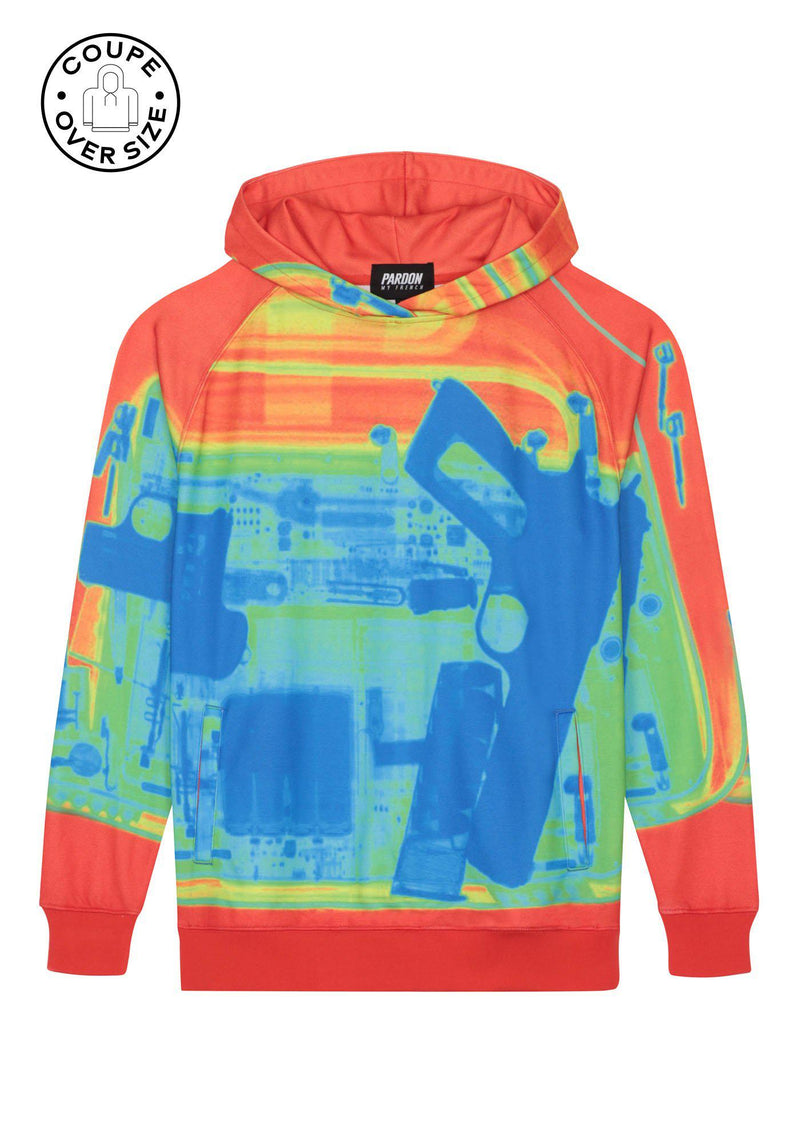 Hoodie over size Pardon My French X RAY Gun Orange