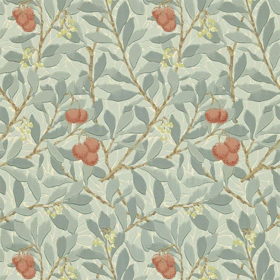 Arbutus Blue/Pink behang Morris & Co Selected wallpapers by OOSTENDORP