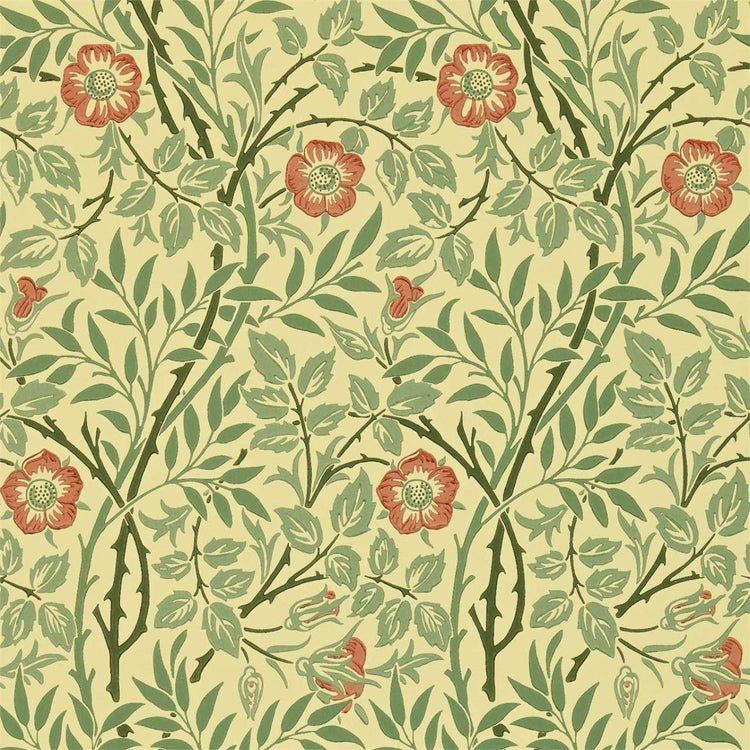 Sweet Briar Green/Blue/Rust behang Morris & Co Selected wallpapers by OOSTENDORP