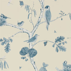Woodland Chorus Indigo/Ecru behang Sanderson Selected wallpapers by OOSTENDORP