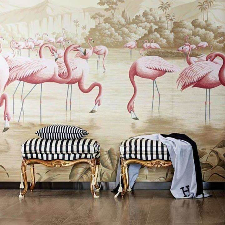 Flamingos Flamingo behang De Gournay Selected wallpapers by OOSTENDORP