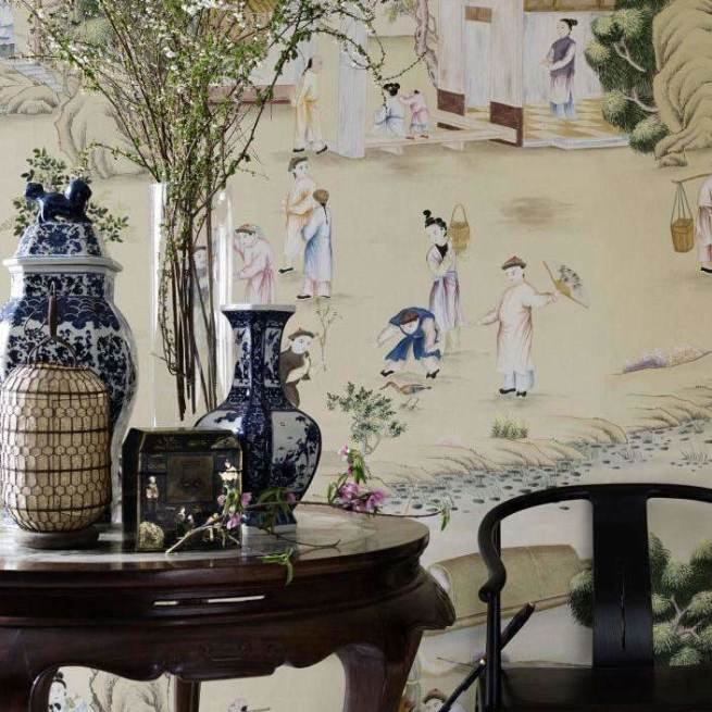 Hampton Court Custom behang De Gournay Selected wallpapers by OOSTENDORP