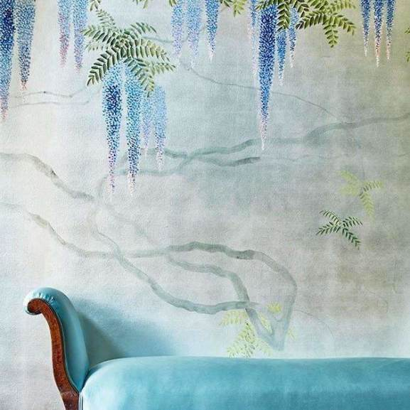 Wisteria Custom behang De Gournay Selected wallpapers by OOSTENDORP