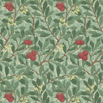 Arbutus Dark Green/Red behang Morris & Co Selected wallpapers by OOSTENDORP